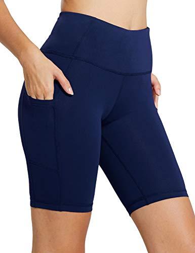BALEAF - Malla compresiva corta con cintura alta y bolsillos laterales para mujer; para practicar yoga, ciclismo, running. Tallas normales y grandes - Azul - M