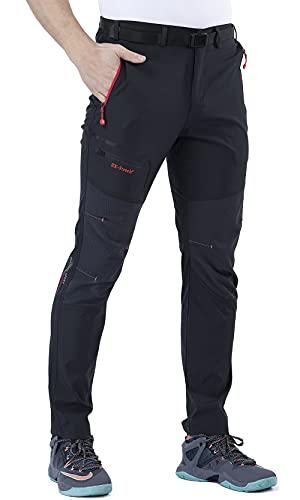 CARETOO Pantalón Deportivo con Cremallera y cinturón para Senderismo, Funcional, Trekking, Outdoor, Engrosado, Transpirable, de Secado rápido, Cortaviento y abrigado