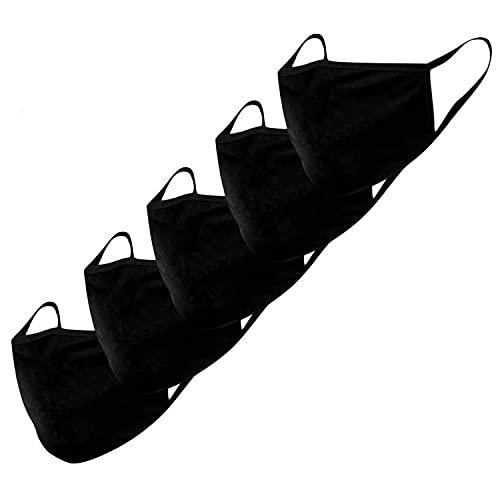 Mascarillas de tela KUNSTIFY - 5 unidades - algodón - protección para la boca y la nariz - mascarillas improvisadas - lavables - unisex - reutilizables y sostenibles