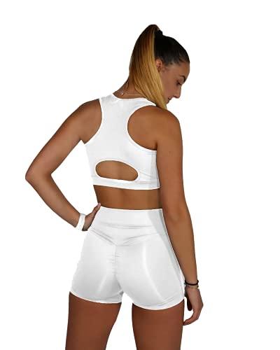 MVC Mallas/Shorts Push Up, Leggins Pantalon Corto Yoga, Leggings/Shorts Fitness Suaves Elásticos Cintura Alta para Reducir Vientre.Diseño Ajustado y ceñido (M)
