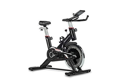 Moma Bikes - Bicicleta Indoor con Volante de inercia (24 kg, pulsometro cuadruple Sensor) Negro