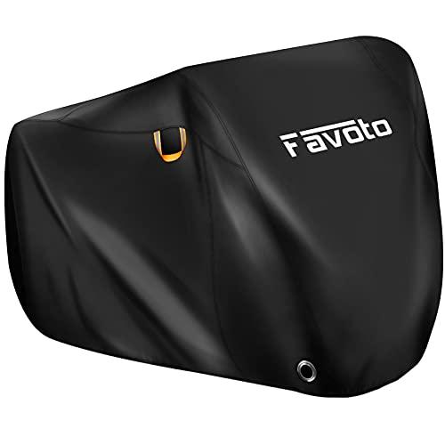 Favoto Funda para Bicicleta Exterior, 210T Tela Poliéster Cubierta Protector para 2-3 Bicicletas Impermeable al Aire Libre contra Lluvia/UV/Polvo/Nieve para Montaña Carretera, 200x105x110cm Negro
