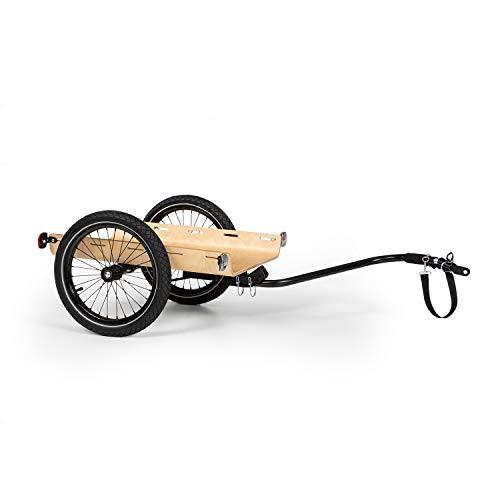 KlarfitCompanion Remolque para bicicleta- Marco de acero, Recubrimiento de polvo, Neumáticos de 16', Revestimiento y cubierta impermeables, 50 litros de volumen, 40 kg de carga máxima, Negro/marrón