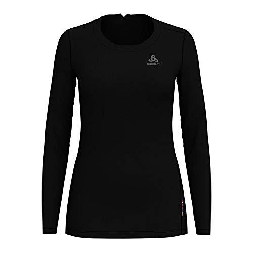 Odlo Camiseta de Cuello Redondo para Mujer (L/S Merino 130), Color Negro, XS