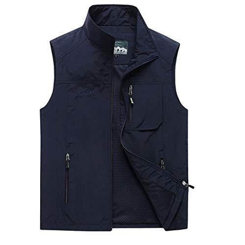 HLD 2019 Nuevo chaleco de ocio for hombre, de verano, multibolsillo, chaqueta de color sólido sin mangas, chaleco extra rápido for hombre. Chalecos (Color : Dark blue, Size : 4XL)