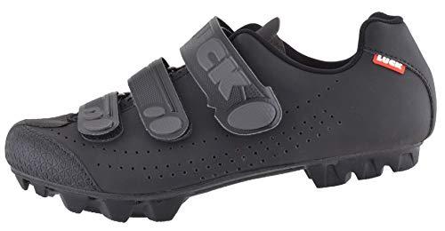 LUCK Matrix Revolution. Zapatillas Ciclismo MTB. Hombre, Mujer. Suela de Carbono Rígida y Ligera. Triple Velcro para un Ajuste Zapatos Ciclismo montaña Negro (46 EU, Negro)