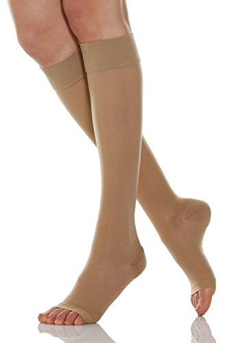 Relaxsan Basic 950A (1 Par - Carne, tg.4) Medias a la rodilla de prevención punta abierta 280 Den compresión graduada 22-27 mmHg