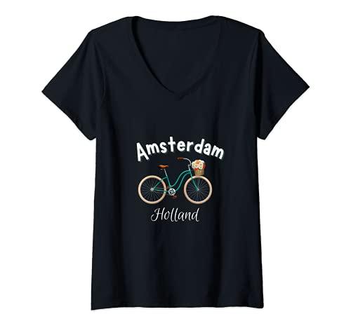 Mujer Amsterdam Camiseta Retro Holanda Bicicleta Holandesa Camiseta Cuello V