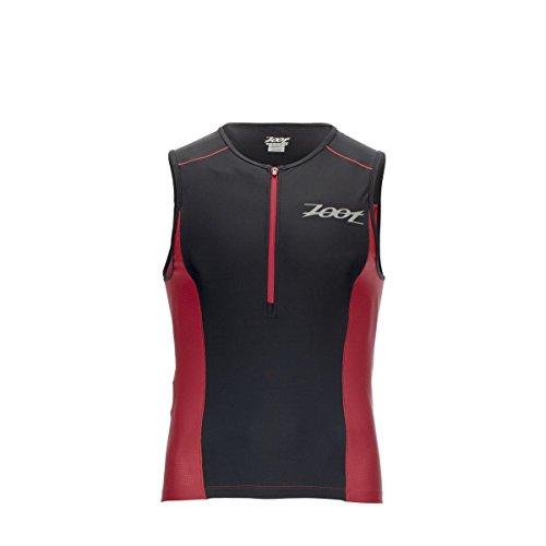 Zoot Active Tri Mesh Tank Top – Camiseta de Triatlón para Hombre, Camiseta de Triatlón Active Tri Mesh Tank, Black/Race Day Red, XS
