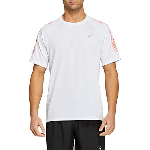 ASICS Icon SS Top T-Shirt, Brilliant White/Flash Coral, XL Mens*