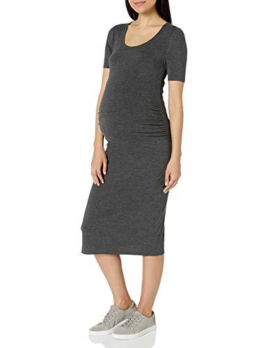 Amazon Essentials Maternity Short-Sleeve Dress Vestido, Carbón Mezcla, Cuadros Escoceses, XL*