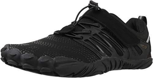 WHITIN Zapatilla Minimalista de Barefoot Trail Running para Hombre Mujer Five Fingers Fivefingers Zapato Descalzo Correr Deportivas Fitness Gimnasio Calzado Asfalto Negro 46
