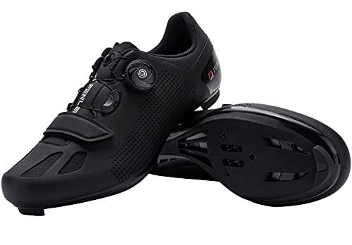 Fenlern Zapatillas de Ciclismo para Hombre Calzado de Ciclismo de Carretera Zapatos de MTB con Suela de Carbono(Negro,EU 43)