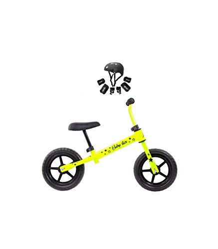 Grupo K-2 Bicicleta De Iniciación Sin Pedales para Niños con Cuadro de Acero Resistente con Manillar Ergonómico y Sillín Ajustable Rueda de 10' para Niños de 2 a 5 Años Amarillo flúor