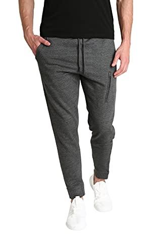LOUNGEHERO Pantalones de Chándal de Forro Polar para Hombre Pantalones de Chándal de Algodón Suave Puños Acanalados con Bolsillos Laterales y Cintura Ajustable Small Gris