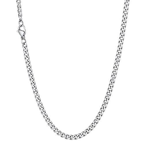 Richsteel Collar Corto Boys Necklace Cadena Cubana Mujer Hip Hop Collar eslabon 3mm Ancho 46cm Largo, Gratis Caja de Regalo