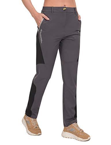 Little Donkey Andy Pantalones impermeables de secado rápido para mujer, ligeros, UPF 50, para senderismo, viajes - gris - X-Small