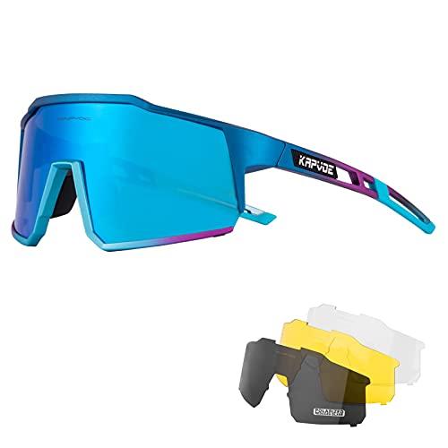 KAPVOE Gafas de Ciclismo Polarizadas con 4 Lentes Intercambiables TR90 Gafas de Sol Deportivas Mujeres Hombres Running MTB Bicicleta Accesorios 05