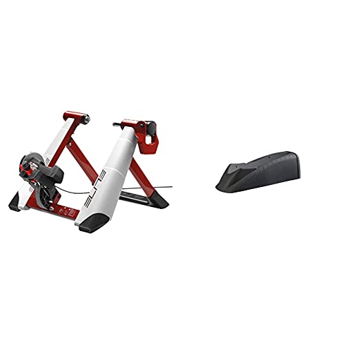 Elite Novo Force Rodillo Magnético De Ciclismo (Sistema De Fijación Rápida, Máxima Estabilidad), 8 Niveles De Resistencia + Calze Rueda Delantera Travel Block