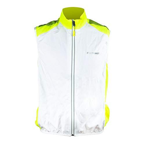 ULTRANNER BULNES - Cortavientos Hombre y Mujer Ligero Sin Mangas - Chaleco Cortavientos Reflectante para Ciclismo Running Trail MTB - Color Blanco y Amarillo