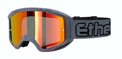 Ethen Gafas/Máscara de Ciclismo, Motocross y Enduro, Lente Espejada, Antivaho, Preparada para uso Tear-Off, Elástico Intercambiable, Made in Italy, Gris