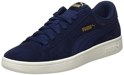 PUMA Smash v2, Zapatillas Unisex Adulto, Azul (Peacoat-Gold-Whisper White), 45 EU