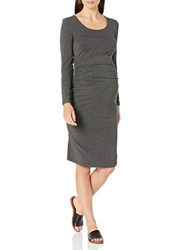 Amazon Essentials Maternity Long-Sleeve Dress Vestido, Carbón Mezcla, Cuadros Escoceses, XL*