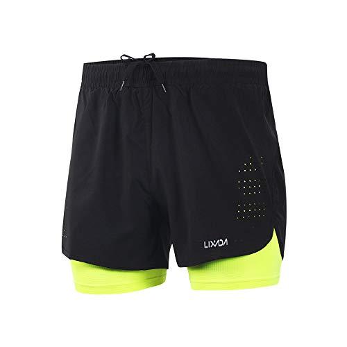 Lixada Hombres Pantalónes Cortos de Running 2-en-1, Pantalones Cortos de Atletismo, Pantalones...*