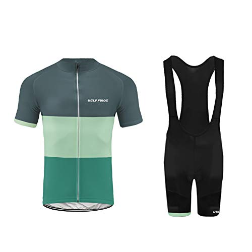 UGLY FROG MTB Ropa de Ciclismo Equipos de Ciclismo al Aire Libre para Hombres Bicicleta Ropa Deportiva Camisa de Manga Corta de Verano +Bib Pantalones Cortos con Correa