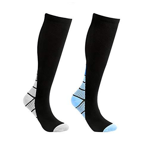 Calcetines de compresión para mujer, para hombre, medias de compresión, medias altas para mujer, calcetines de capacidad para hombre, para deporte, ciclismo, viaje en avión, 2 unidades, bicolor, L/LX