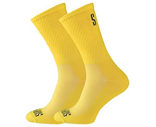 Soporte de calcetines de ciclismo para hombre, tecnología transpirable de fibra antideslizante, unisex, divertidos patrones de ciclista, accesorios para senderismo, escalada 6-7 UK / 39-41 EU