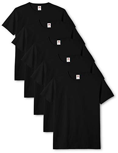 Fruit of the Loom Mens Original 5 Pack T-Shirt Camiseta, Negro (Black), Large (Pack de 5) para Hombre