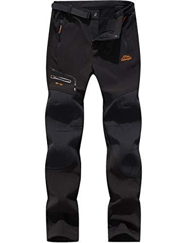 BenBoy Pantalones de Nieve Montaña Hombre Impermeables Invierno Calentar Pantalones Trekking Escalada Senderismo Esquiar Softshell (L, Negro1)