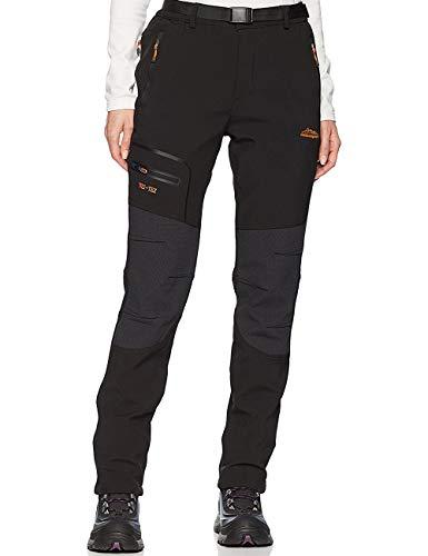 BenBoy Pantalones de Montaña Mujer Impermeables Invierno Calentar Pantalones Trekking Escalada Senderismo Softshell,KZ1812-Black-S