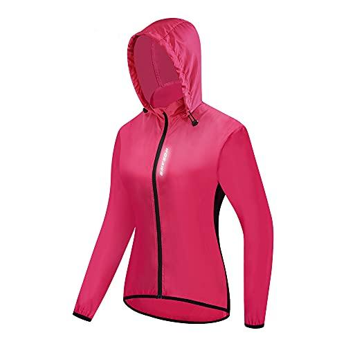 WOSAWE Cortavientos con Capucha para Montar para Mujer Jersey de Ciclismo Ligero Resistente al Viento Impermeable Deportes de Carreras Secado rápido(Rojo M)
