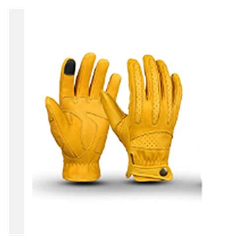 QWERTYUI RUNSHIBAIHUODIAN Motorcycle Rider Gloves de Cuero Finger Finger Ciclismo Pantalla táctil...*