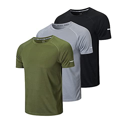 HUAKANG 3 Piezas T-Shirts de Manga Corta Camiseta Hombre de Secado Rápido Ropa Deportiva Hombre para Correr(Black Grey Green-L)