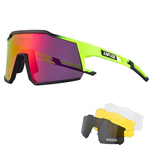 KAPVOE Gafas de Ciclismo Polarizadas con 4 Lentes Intercambiables TR90 Gafas de Sol Deportivas Mujeres Hombres Running MTB Bicicleta Accesorios 07
