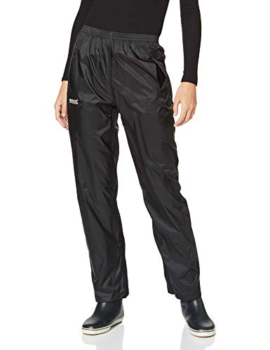 Regatta Pantalones Packaway Impermeable, Transpirable y Ligero Overtrousers, Mujer, Black, S*