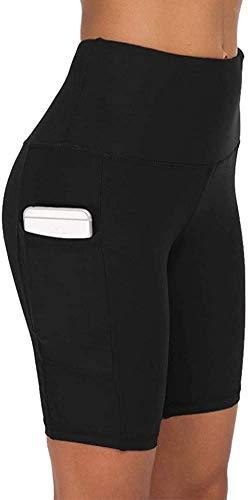 COTOP pantalones cortos de yoga para mujeres, pantalones cortos deportivos de cintura alta de verano con bolsillos para entrenamiento de gimnasia, fitness, trotar, correr, motorista(L)