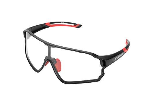 ROCKBROS Gafas Fotocromáticas de Bicicleta Protección UV400 Lente Transparente para Ciclismo Running Deportes al Aire Libre, Unisex
