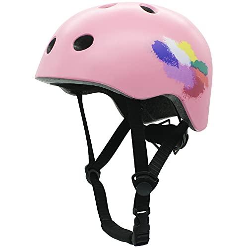 Casco de bicicleta infantil para patinaje, ajustable para 8 años, certificación CE, para bicicleta, monopatín, scooter, BMX, 8 – 13 años, color rosa