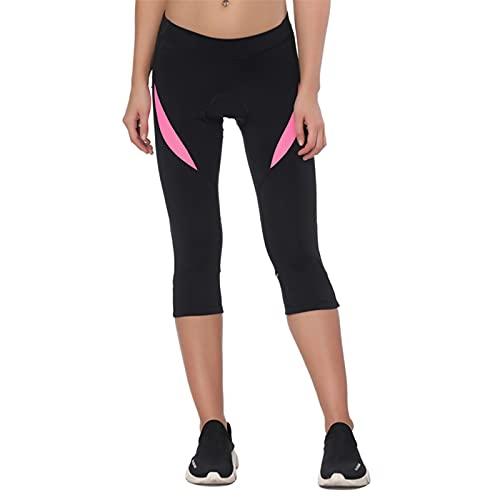 Santic Pantalones Cortos Ciclismo Mujer con Badana 3/4 Pantalon Bicicleta Mujer con Badana/Protecciones Rosa EU M