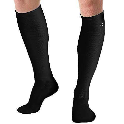 Rymora Calcetines de compresión para mujeres y hombres circulación, correr, trabajo, embarazo - SXm4, M, Negro (ligero).