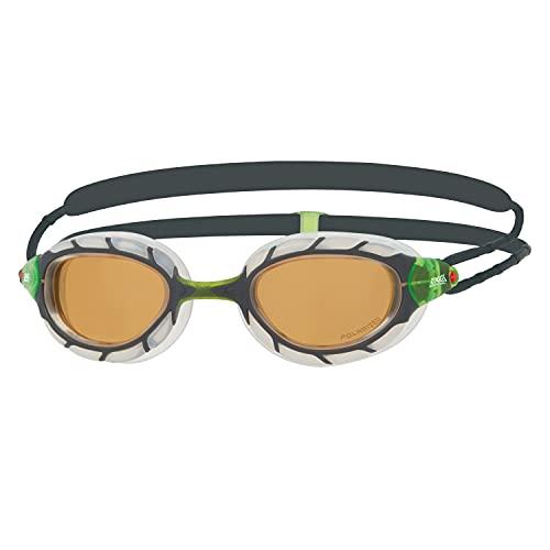 Zoggs Predator Polarized Ultra Smaller fit Gafas de natación, Adultos Unisex, Grey/Clear/Copper, S,