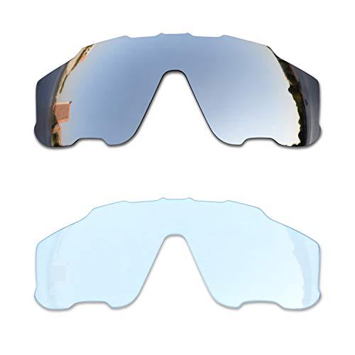 SOODASE Para Oakley Jawbreaker Gafas de sol Plata/Transparente 2 Pares Lentes de repuesto