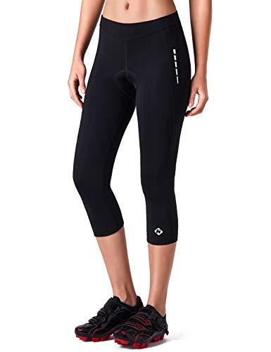 NAVISKIN 3/4 Pantalones Térmicos de Ciclismo Capris para Mujer con 3D Cojín de Gamuza Bolsillo con Cierre Elemento Reflectantes Entrenamiento Fitness Respirable Secado Rápido Negro XXL