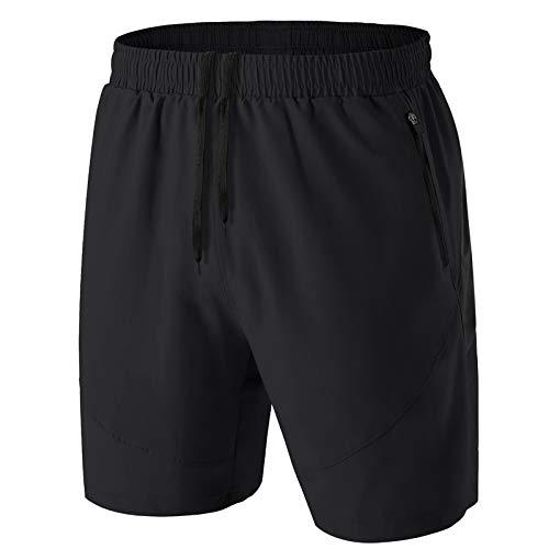 Kyopp Pantalones cortos de deporte casuales para hombre, entrenamiento, gimnasio, correr, con bolsillos con cremallera, secado rápido, pantalones cortos de rugby, 2 Negro, 54
