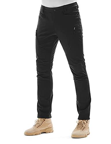 KUTOOK Pantalones Trekking Hombre Softshell Impermeables y A Prueba de Viento Transpirables Cálidos Pantalones Invierno con Forro Polar para Montaña Escalada Running(Negro,M)