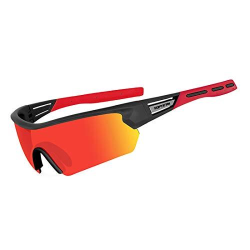 Gafas Ciclismo Polarizadas con 5 Lentes Intercambiables Gafas de Sol Deportivas Antivaho Antireflejo Anti Viento y UV Adaptadas a Deporte Carrera Running Bicicleta MTB para Hombre y Mujer (Rojo)